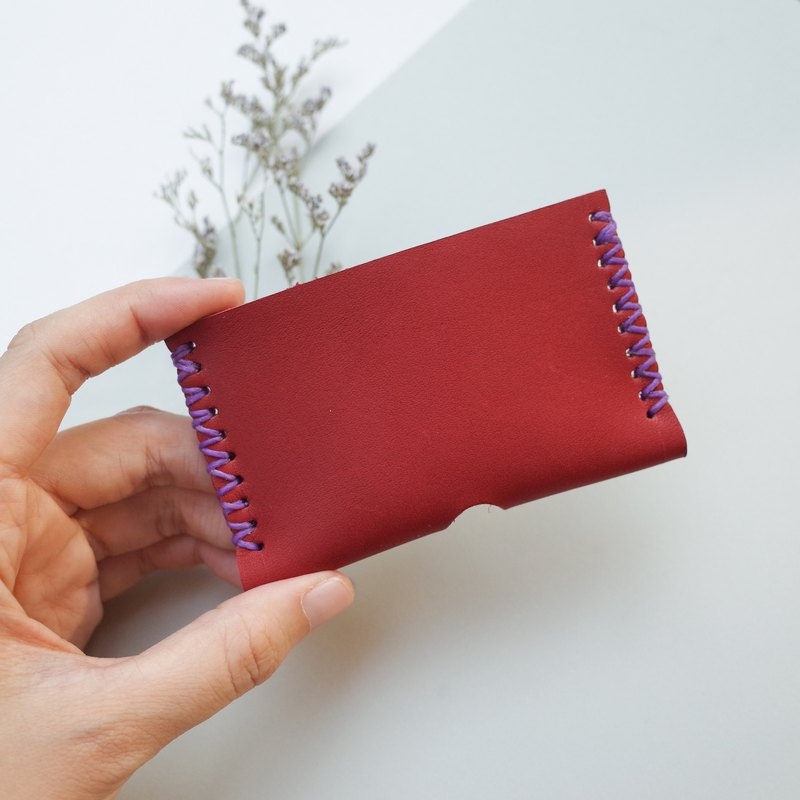 Hand stitch leather card holder in red