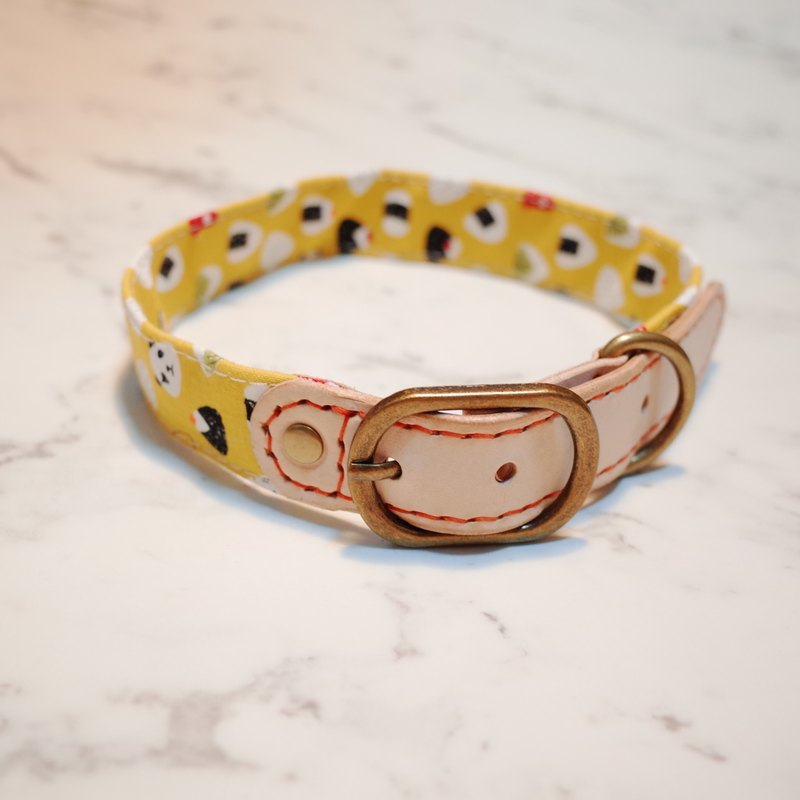 Dog L collar yellow triangle Imperial rice sushi with bells can add purchase tag