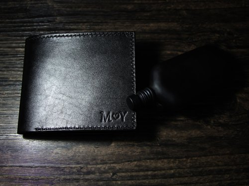 [That is black] - vegetable tanned leather pure hand brush color leather black short wallet