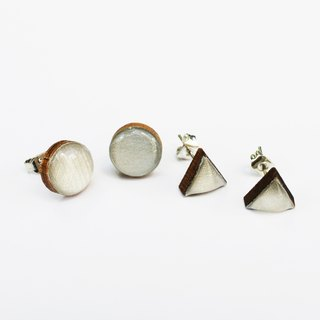 Tiny geometric triangle and circular wood earrings - silver