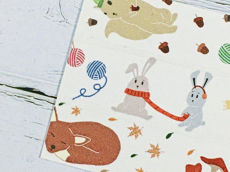 秋天動物 可愛森林動物紙膠帶 by Chun