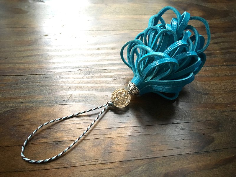Leather tassel signora turquoise