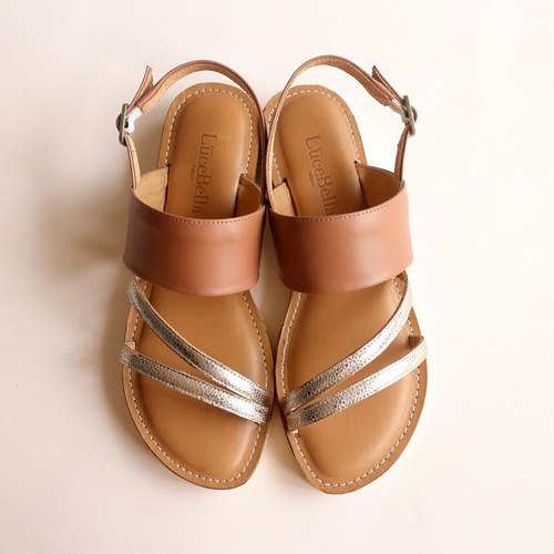 [Three chords] Full leather sandals - Brown