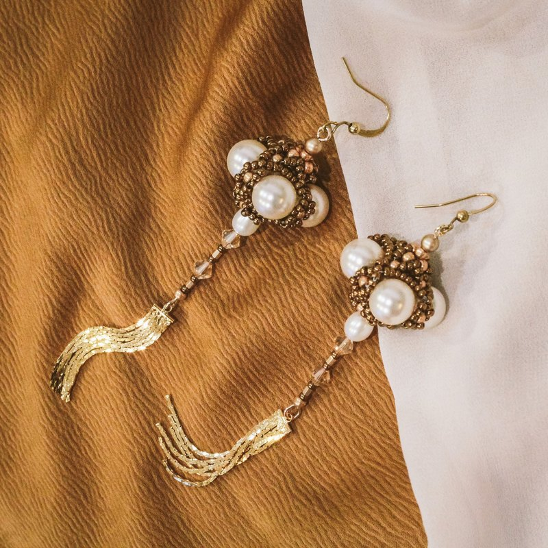 Omni Central extended tassel beaded pearl & brass earrings/clips