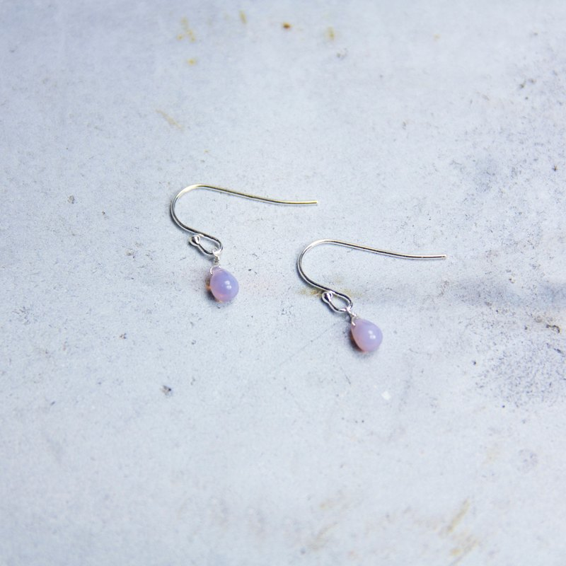 Minimalist Collection - Peach Blossom Purple - 925 sterling silver handmade earrings Free clip-on silverware gift wrap
