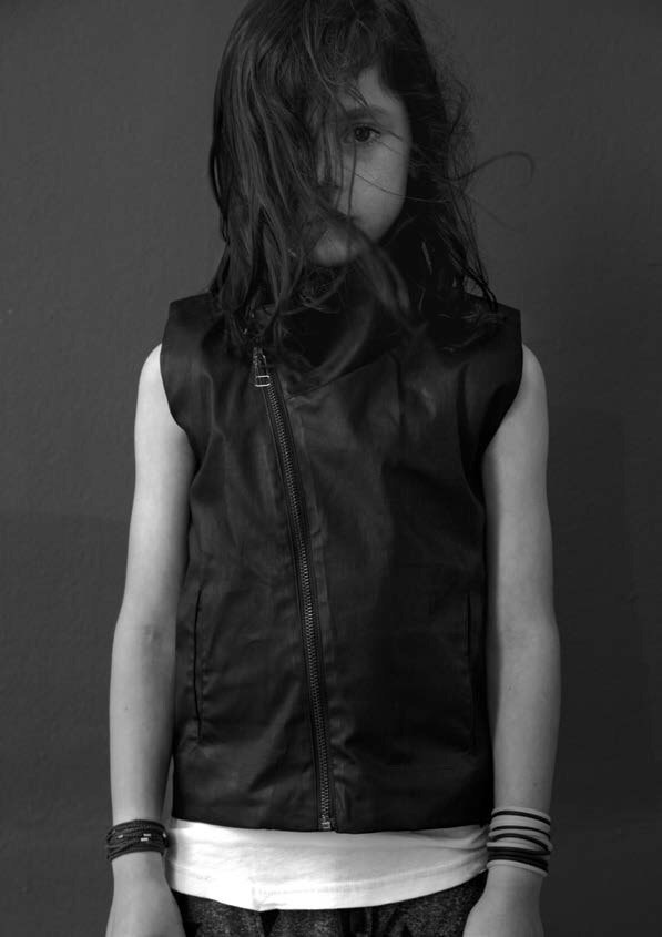 Spring/Summer 2016 NUNUNU Black WAXED Zippered Vest