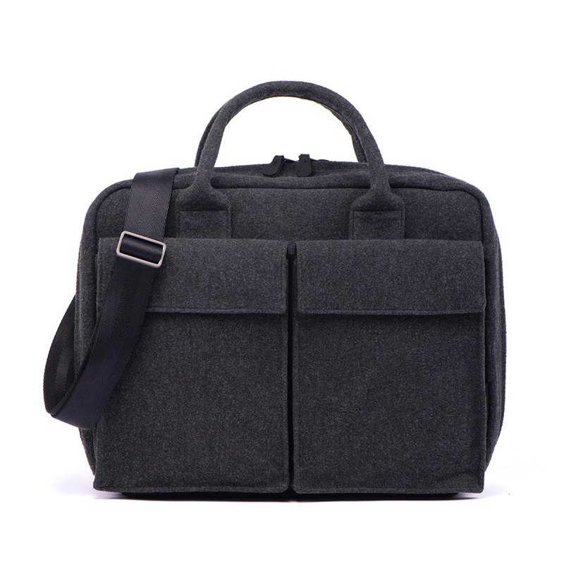 Sea salt ash - wool POLO laptop bag 15 吋 (with strap)