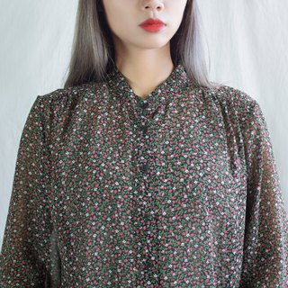 Strawberry Flower Stand Collar Long Sleeve Shirt