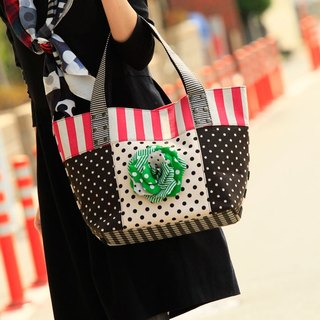 tote bag Location Hunting L Pink Green Corsage dots borders stripes