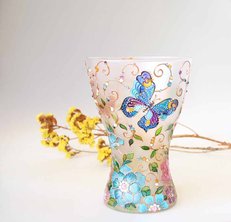 Glass Vase Butterflies Rainbow Wildflowers Swarovski Crystals Hand Painted