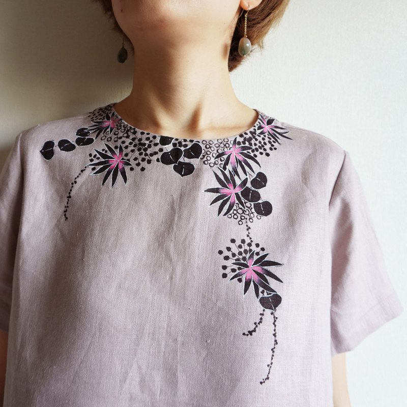 Short sleeve blouse dull pink underwater plants