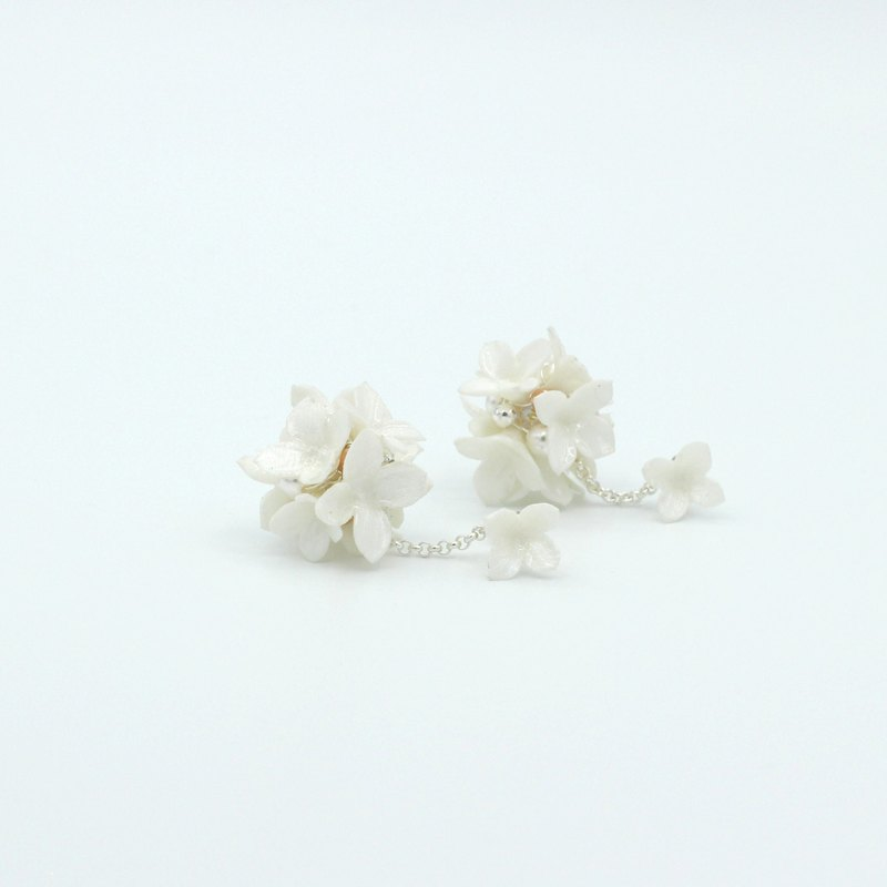 Pamycarie Spring resin clay pearl white hydrangea 925 sterling silver earrings