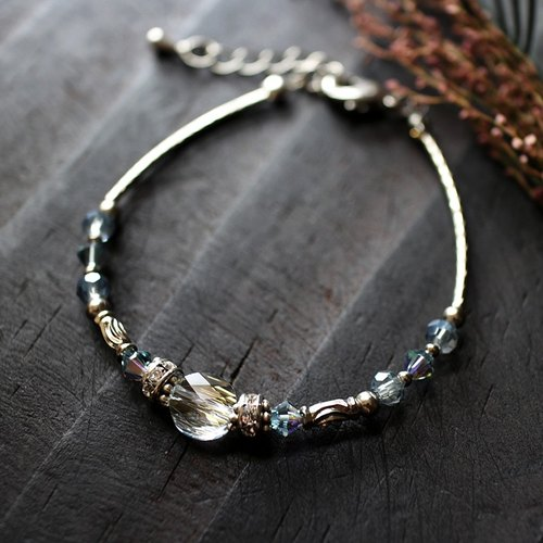 EF Crystal NO.3 Blue Phantom Corrugated Crystal White Copper Bracelet