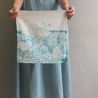 Illustration series/Dashan-blue/cotton double yarn handkerchief 100%cotton