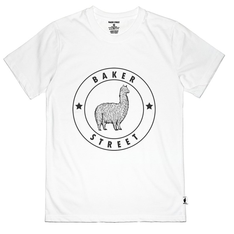 British Fashion Brand -Baker Street- Alpaca Stamp Printed T-shirt