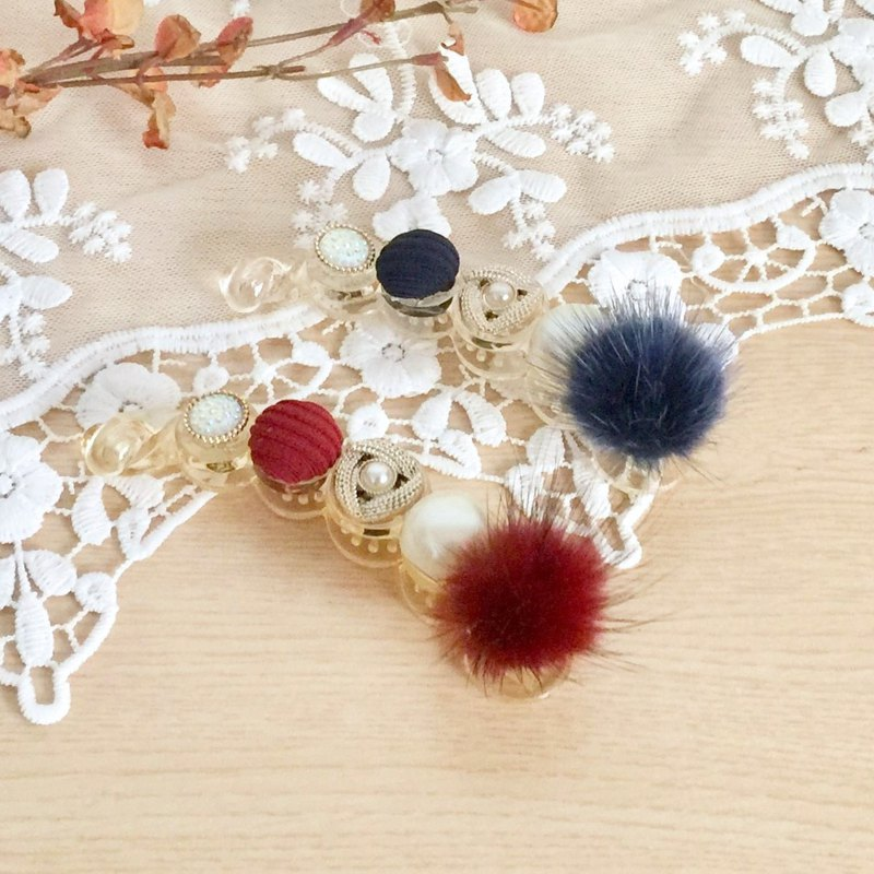 Blue / Red / Palace Elegant Hair Ball Pearl Pearl Banana Clip Intersection Clip Spring Clip