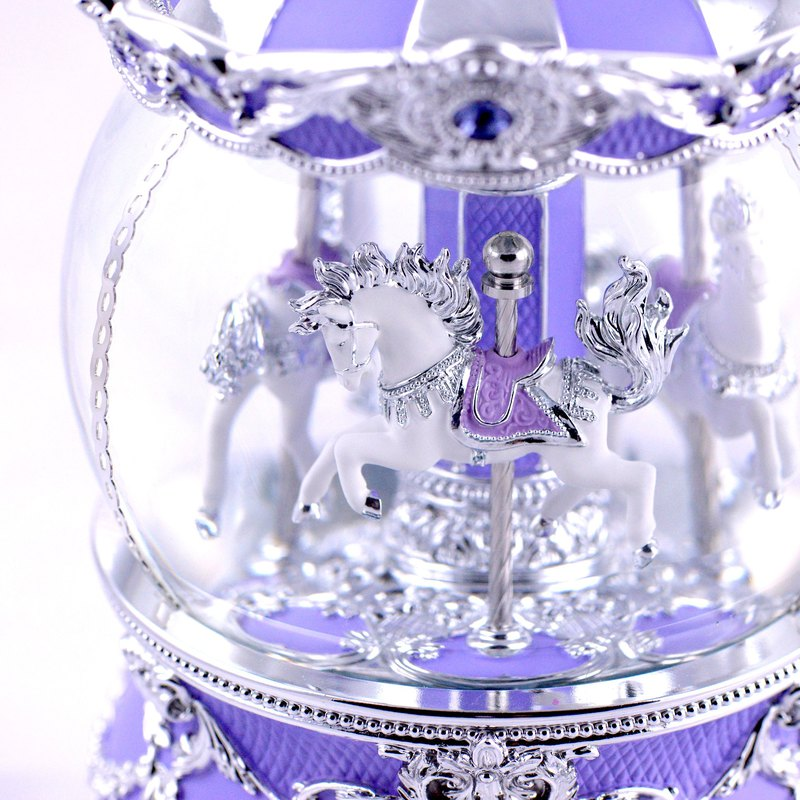 Lavender purple umbrella cover amusement horse crystal ball music bell birthday gift Valentine's Day gift sky city