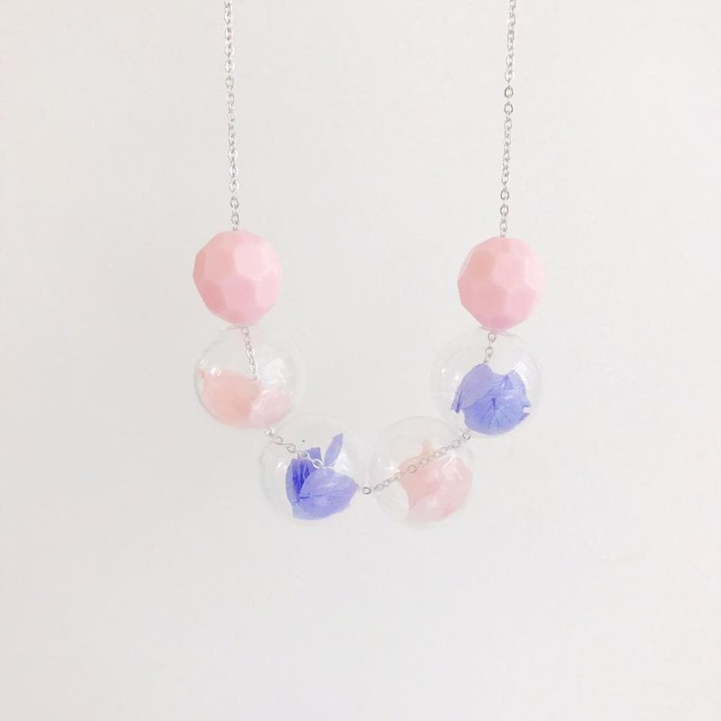 LaPerle Early Summer Pink Purple Pink Worries Flower Glasses Bubble Bubble Transparent Necklace Necklace Necklace Necklace Birthday Gift Preserved Flower Purple Pink Glass Ball Necklace