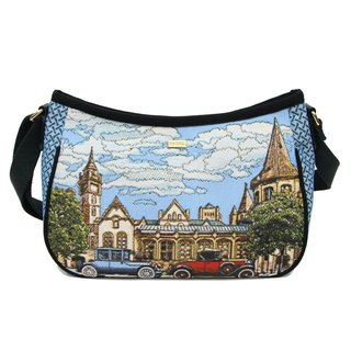 Vintage car texture painting jacquard meniscus oblique backpack blue black -REORE