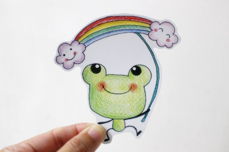 Waterproof sticker (large)_frog rainbow