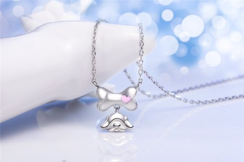 Born to a 925 Silver Puppy and Bone Necklace Clavicle Chain