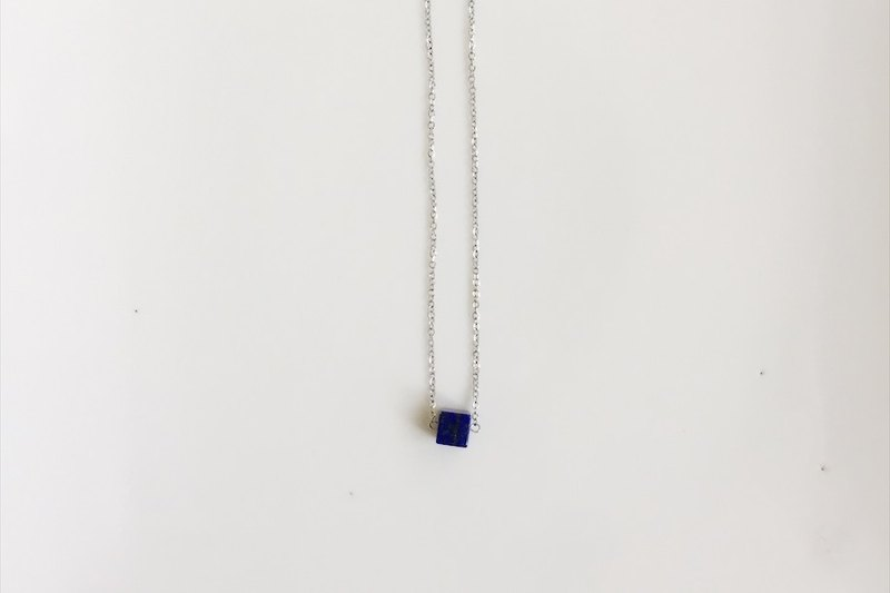 Minimalist lapis lazuli stainless steel clavicle chain