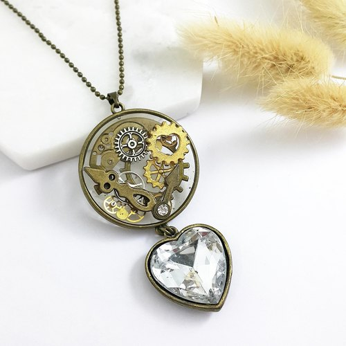 Steam punk [Cn9051]. Clear Gemstone x Clock Gear Center Drill x Handmade Creative Necklace