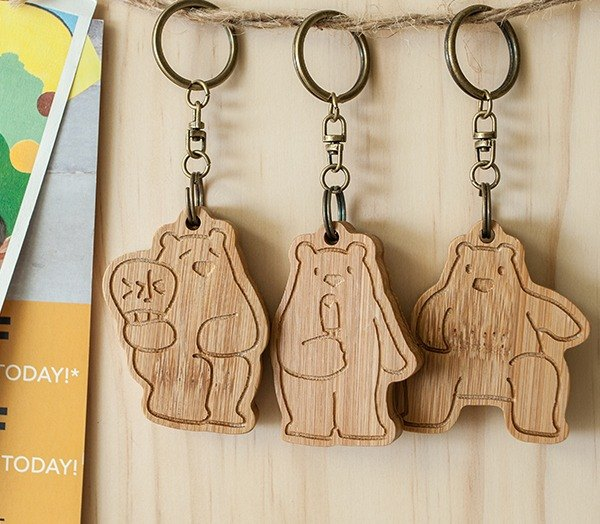 [customized gift] rescue polar bear / family portrait key ring