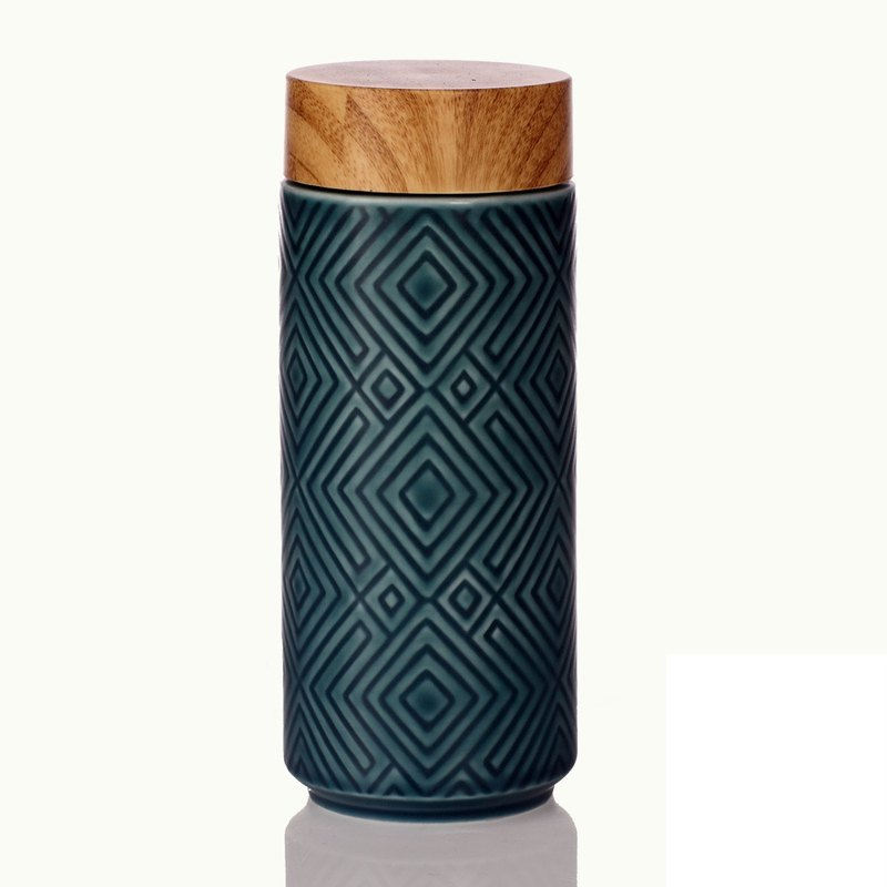 Miracle portable cup / large / double layer / matt peacock blue / imitation wood grain cover