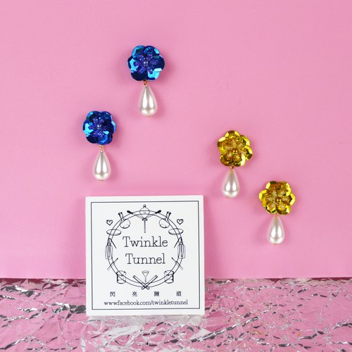 Sequin Flower Earrings (blue / gold)