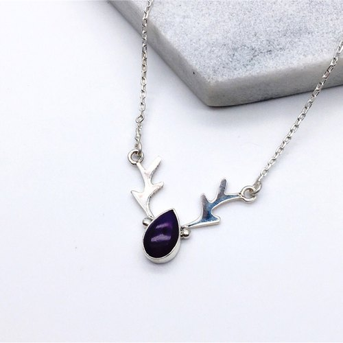 Shibuyaitei 925 sterling silver elk design necklace handmade mosaic in Nepal