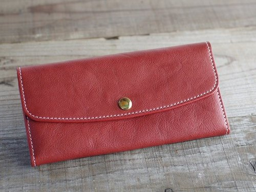 【Free Shipping】 Nume leather long wallet azuki color