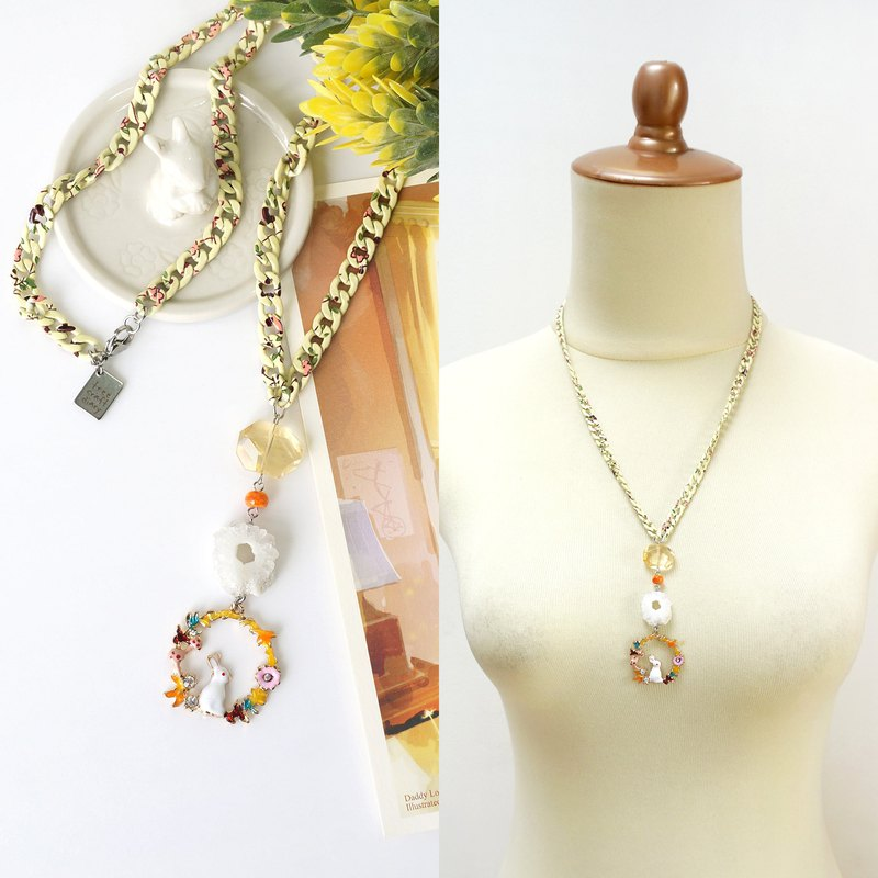 Citrine + Solar Quartz Crystal Combination Necklace