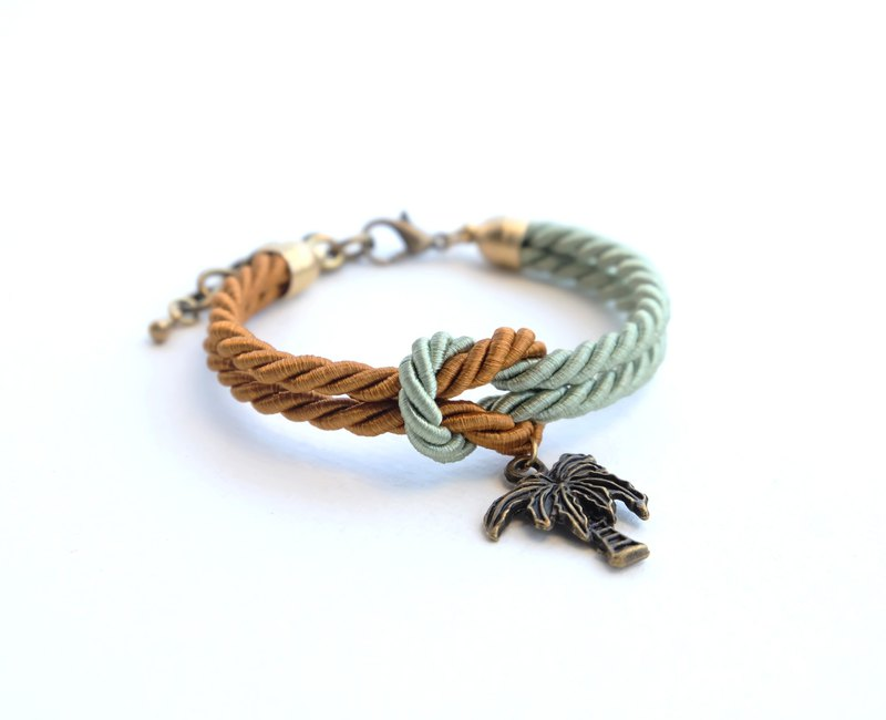 Cinnamon brown / Sage green knot rope bracelet with coconut tree charm
