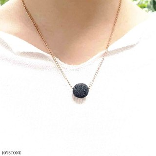 Titanium Steel Rose Gold Diffuser Necklace - Black 14mm Big Bead Aroma Rock