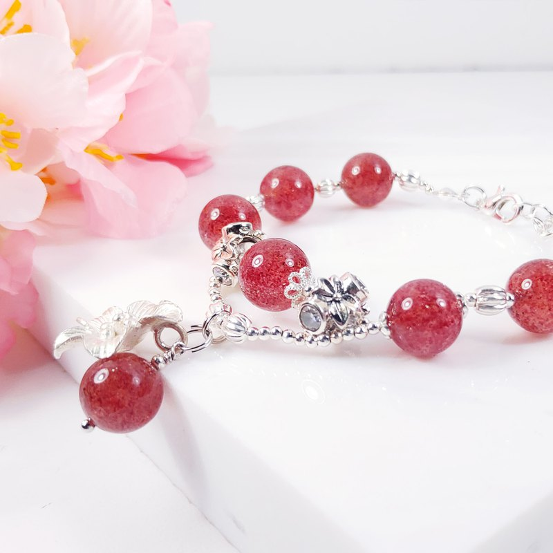 Natural Bright Pink Strawberry Crystal 925 Silver Design Bracelet Custom Limited 2 Christmas Gifts