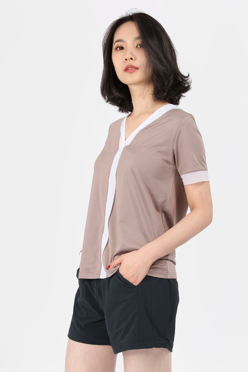 V-neck Yarn Reflector Suction T-Mocca Coffee