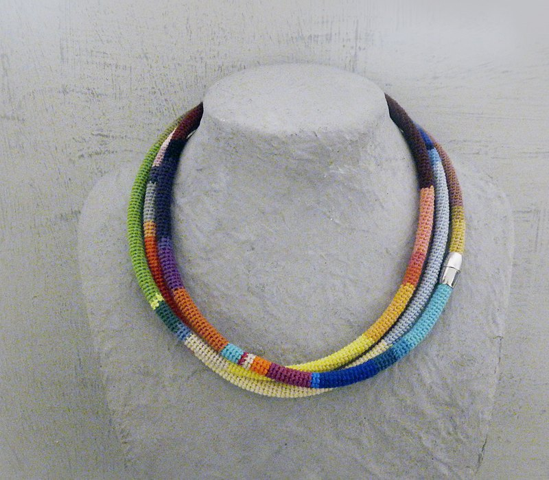 3 Times Wrap Necklace Multicolor Crochet Tube African Style Skinny Scarf