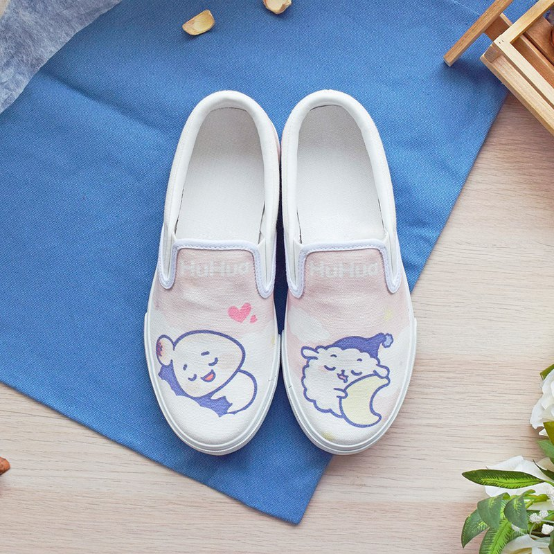 Xiaohu flower illustration canvas shoes good sleep cute childhood fun pink cotton Taiwan handmade