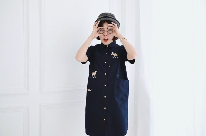 Shirt Dress (DONKEYS) - Navy