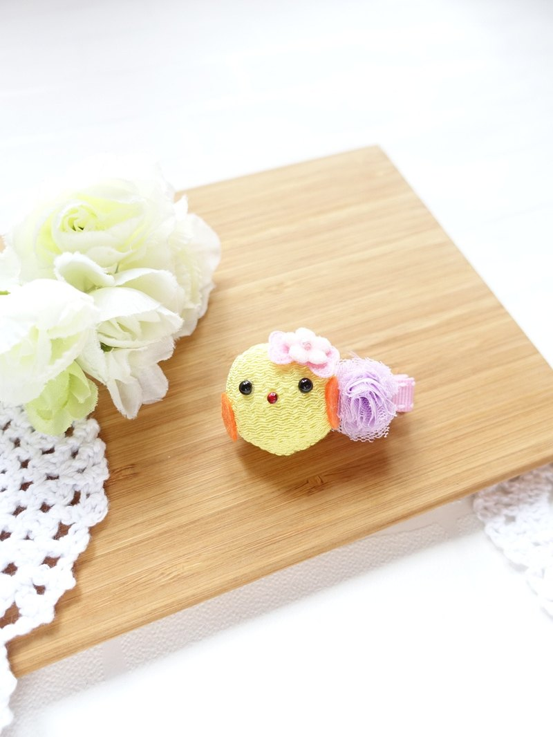 Cute yellow chick handmade hairclips for kids