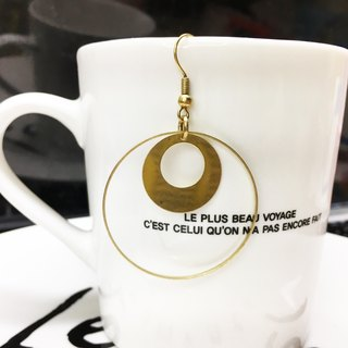 Can be changed clip - brass round big earrings - Eclipse eclipses - a single branch