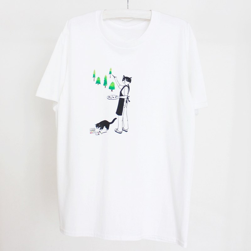 Cat Painter Screen Print T shirt Il Story_illustration