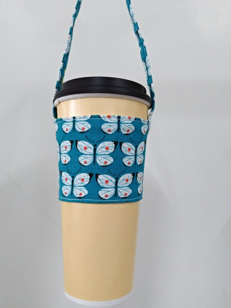 Drink Cup Set Eco Cup Set Hand Drink Bag Coffee Bag Tote Bag - Butterfly Turquoise Bottom
