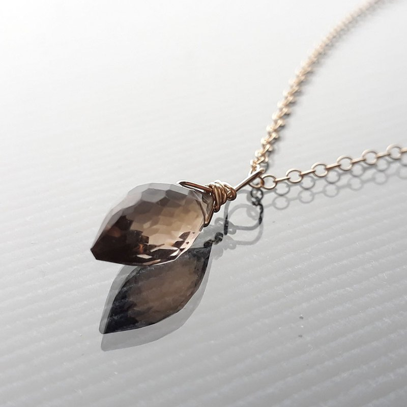 14KGF Tea Crystal Smoky quartz Cut Olive Necklace