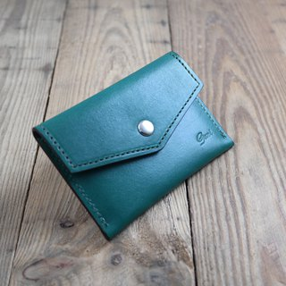 APEE leather handmade ~ light card holder ~ green