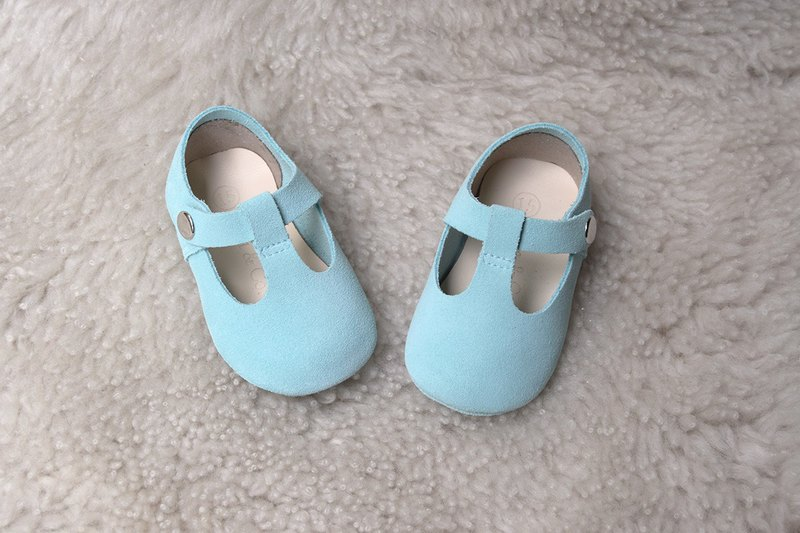 Light Blue Baby Girl Shoes, Baby Girl Mary Jane T Strap, Baby Moccasins