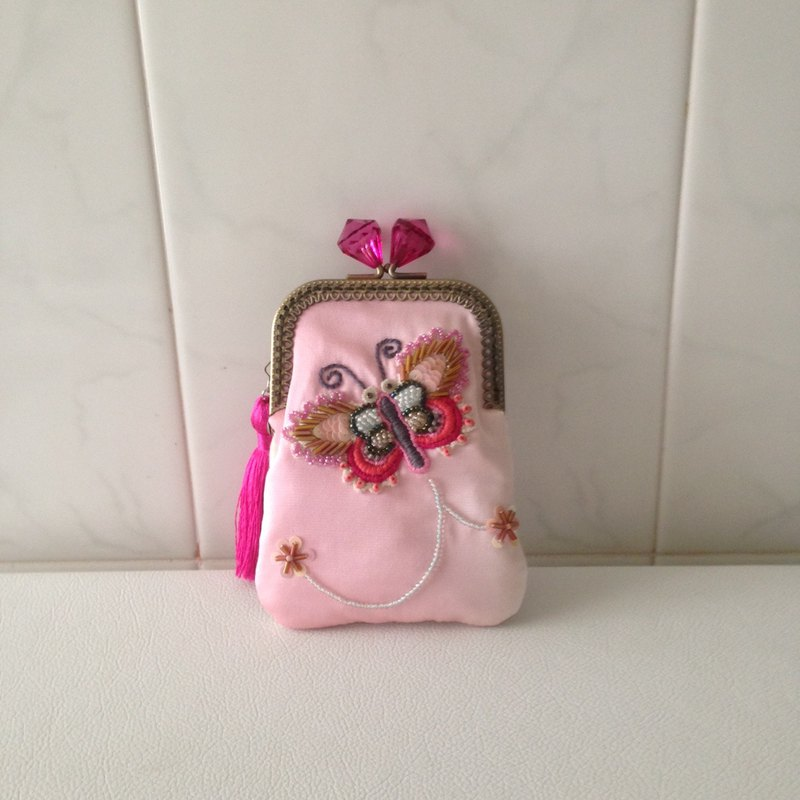 kimono card (kisslock) case with bead embroidery