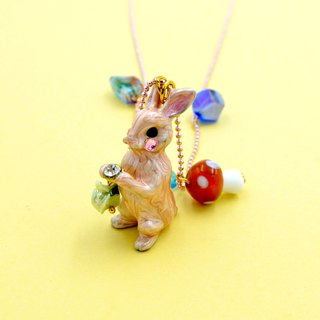TIMBEE LO Pink Rabbit Necklace Necklace Ceramic Mushroom Charm Alice Dream Fairy Tale