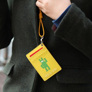 Clearance Sale - Ninja Rabbit Neck Leather Ticket Holder - Yellow, JST15256